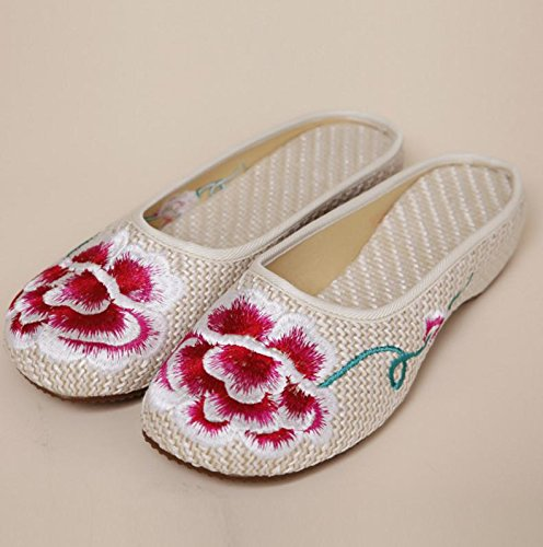 WXT Peonía zapatos bordados, lenguado de tendón, estilo étnico, flip flop femenino, moda, cómodo, sandalias beige..