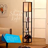 Brightech Maxwell - LED Shelf Floor Lamp - Modern Standing Light for Living Rooms & Bedrooms - Asian Wooden Frame with Open Box Display Shelves - Havana Brown