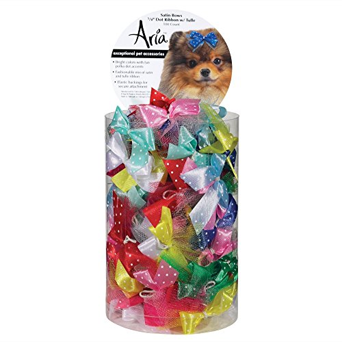 Aria Dot Ribbon with Tulle Bows for Dogs, 100-Piece (Bows Canister)