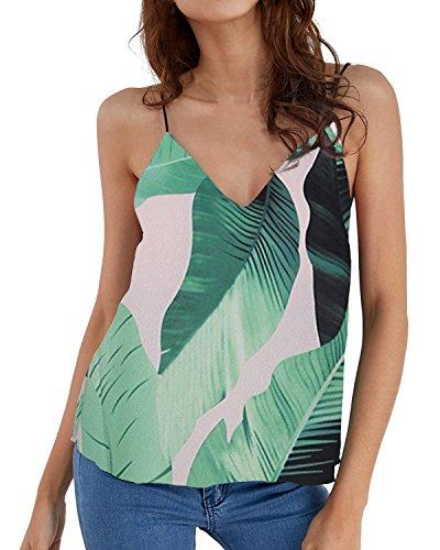 Bello Top Canotta Elegante T Foglia Shirt ACHIOOWA Sexy Rosa Senza Maglietta Donna Collo Verde V Casual Maglie C0xYwO