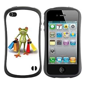 Suave TPU GEL Carcasa Funda Silicona Blando Estuche Caso de protección (para) Apple Iphone 4 / 4S / CECELL Phone case / / Clothes Shop Frog White /