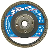 Weiler 51125 Tiger Paw High Performance Abrasive Flap Disc, Type 29 Angled Style, Phenolic Backing, Zirconia Alumina, 4-1/2'' Diameter, 5/8''-11 Arbor, 60 Grit, 13000 RPM (Pack of 10)