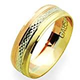 14K Tri Color Gold 6mm Wedding Band (Size 5 to 13), 9.5