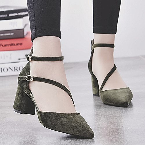 Pumps Strap D'Orsay Green HooH Kitten Buckle Heel Chunky Pointed Women's Pumps Toe Ankle 4xTaxZq