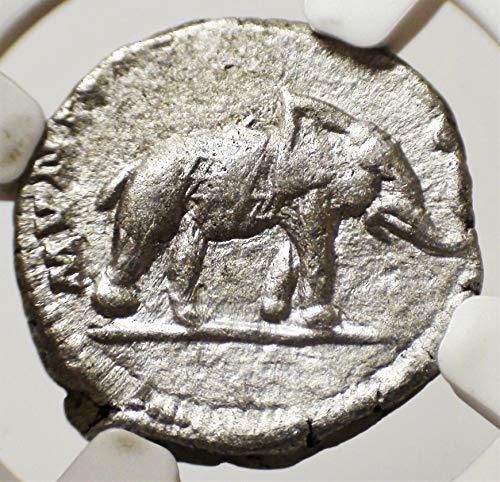 IT 193-211 AD Ancient Imperial Rome Emperor Septimius Severus Antique Elephant Roman Silver Coin AR Denarius Choice Very Fine ()