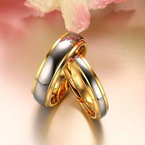 jsfyou mariage bijoux haute poli Double rainures Bague de Fiançailles en acier inoxydable Couple