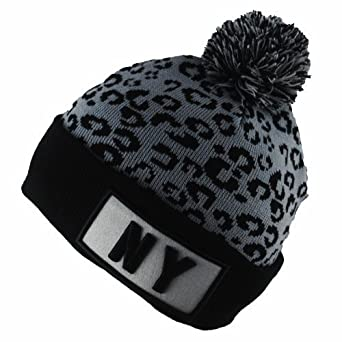 BNWT State Property NY New York Leopard Print Winter Wooly Beanie Bobble Hat 5910b3c7e56