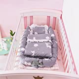 Abreeze Baby Bassinet for Bed -Deer Baby Lounger - Breathable & Hypoallergenic Co-Sleeping Baby Bed - 100% Cotton Portable Crib for Bedroom/Travel