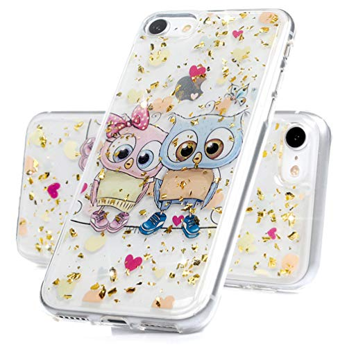 (iPhone 7 Case, iPhone 8 Case, Bling Shiny Glitter Slim Hybrid Crystal Floral Clear Case Shock Absorption Bumper Luxury Glitter Sparkle Soft TPU Girly Protective Back Cover Owl)