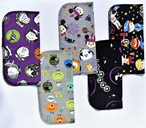 1 Ply Printed Washable Fun Kids Halloween Napkin Set-9x9 inches 5 Pack - Little Wipes (R) Flannel