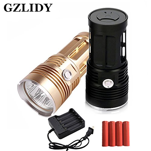 Amazon.com: 1, Oro : Zk30 linterna mi-5 10000 lúmenes campamento Caza antorcha 5X cree xm-l T6 Lanterna táctica adecuada 4x18650: Home & Kitchen