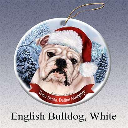 Holiday Pet Gifts Bulldog (White) -English Santa Hat Dog Porcelain Ornament