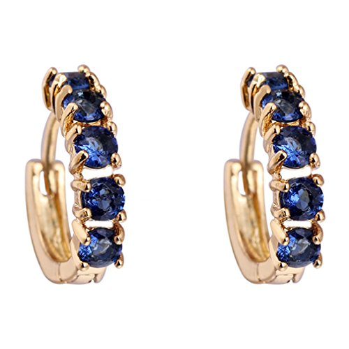 [Calors Vitton Gold Plated Small Round Cubic Zirconia Huggie Hoop Earrings for Women] (1980s Costume Jewellery)