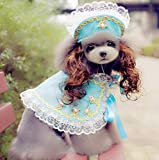 BeesClover High Grade Dogs Cats Lovely lace Wig hat Cloak Set pet Dog cat Fashion Princess caps Scarf Suit Pets Grooming Accessories 1pcs PF17 L