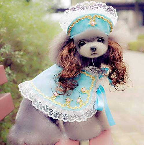 BeesClover High Grade Dogs Cats Lovely lace Wig hat Cloak Set pet Dog cat Fashion Princess caps Scarf Suit Pets Grooming Accessories 1pcs PF17 S