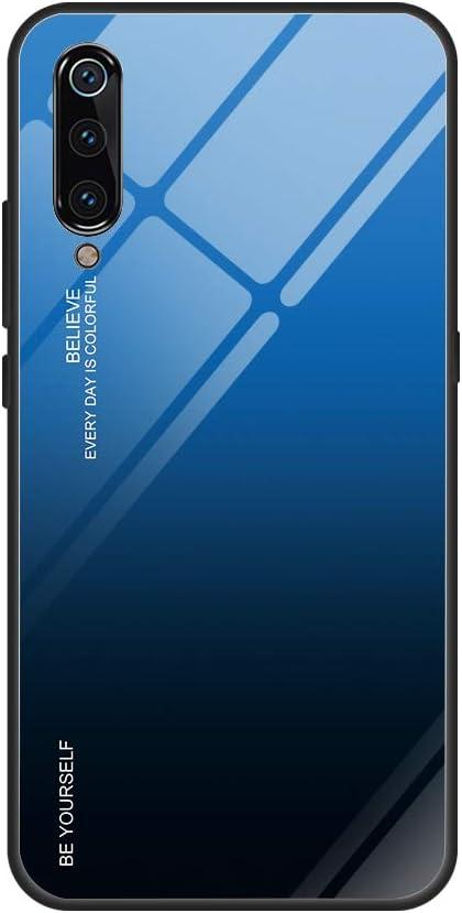 Funda Xiaomi Mi 9 360 Grados Pantalla Completa Vidrio Templado Ultra Slim Ligero Original PC Duro Cover Anti-rasguños Protection Cámara para Mi 9 Carcasa (Azul + Negro, Mi 9 6.39