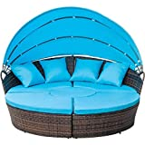 FLIEKS Leisure Zone Outdoor Patio Round Daybed Furniture with Retractable Canopy, Wicker Rattan