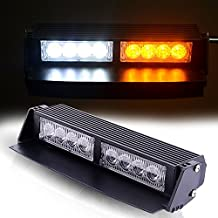 "TURBOSII 8 LED 9"" Traffic Advisor Emergency Warning Directional Light Bar Kit Vehicle Strobe Flash Mini Interior LED Dash Light Bar,YELLOW+WHITE"