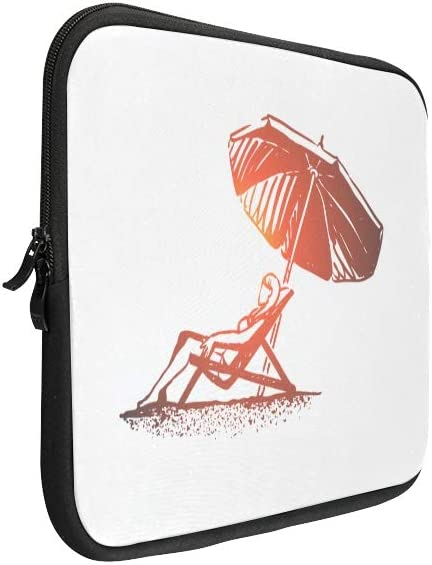 Unique Custom Beach Girl Summer Umbrella Sunbathe Print Laptop Sleeves Soft Mens Laptop Briefcase Briefcase Protective for MacBook Air 11