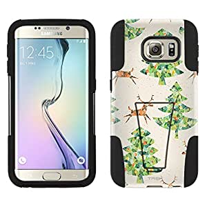 Samsung Galaxy S6 Edge Hybrid Case Reindeer and Christmas Trees Pattern 2 Piece Style Silicone Case Cover with Stand for Samsung Galaxy S6 Edge
