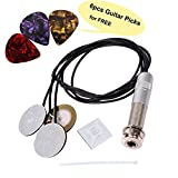 "Self-adhesive Pickups Piezo Transducer with 6PCS Celluloid Guitar Picks, 3 in 1 Microphone Contact & Endpin Jack 1/4"" for Electronic Acoustic Guitar Violin Ukulele"