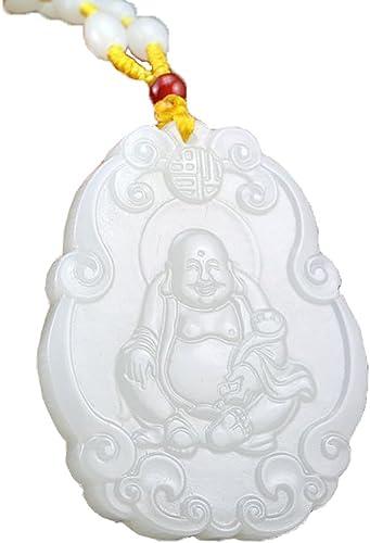Afghanistan white jade Maitreya Buddha pendant buddhism belief necklace