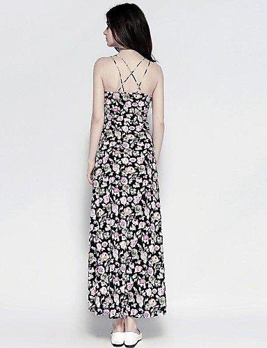 PU&PU Robe Aux femmes Swing Grandes Tailles / Sexy / Soirée , Fleur A Bretelles Maxi Coton , dark pink-l , dark pink-l