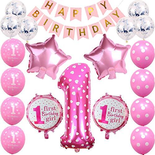 1st Birthday Girls Decorations First Pink Birthday Party