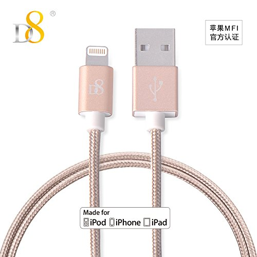 D8 Apple MFi Certified Lightning Cable Nylon Braided iphone Charger Data Cable 2.4A Fast Charging Cord 3.3ft for iPhone 7/7plus, 6s/6sPlus, 6/6Plus, iPad Pro/Air 2, iPad mini 4/3/2 & More (gold) by D8