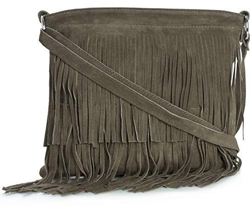 LIATALIA Womens Fringe Handbag - Real Italian Suede Leather - Tassle Effect Shoulder Bag - (Large Size) - ASHLEY [Deep Taupe]