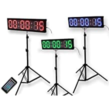 """EU 4"""" 6 digits RGB LED Race Timing Clock For Running Events Countdown/up stopwatch IOS(IPhone) and Android are supported."""