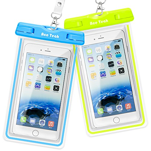 Waterproof Case, 2 Pack Ace Teah Clear Universal Waterproof Case, Dry Bag, Pouch, Transparent Snowproof Dirtproof for iPhone 6 6S Plus SE 5S 5C, Samsung Galaxy S6 edge, - Blue, Green (Cell Phones Case For Iphone 6)