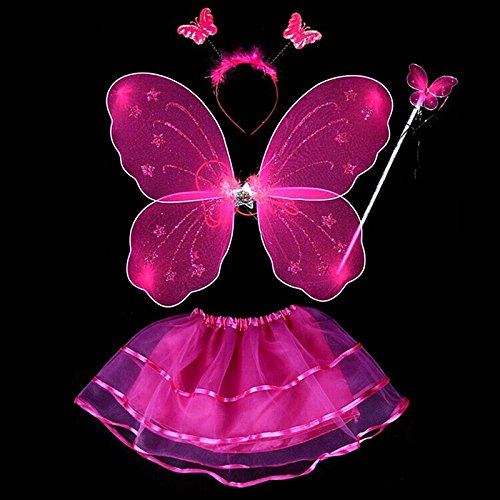 BOBORA Fairy Girl Butterfly Wing Wand Headband Tutu Skirt Halloween Costume Set (Rose Red-2)
