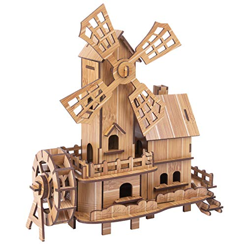 Wooden Puzzles Model Kits Dutch Windmill Assembled Educational Toys 3D Puzzle Challenge Gift for Adults Kids ()