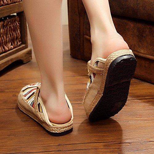 Pantoufles Rondes 36 HONG La Lin Paille Grey à College Main Littéraire Blue Vent 36 Chaussures JIA College Chaussures WZx4OFWw