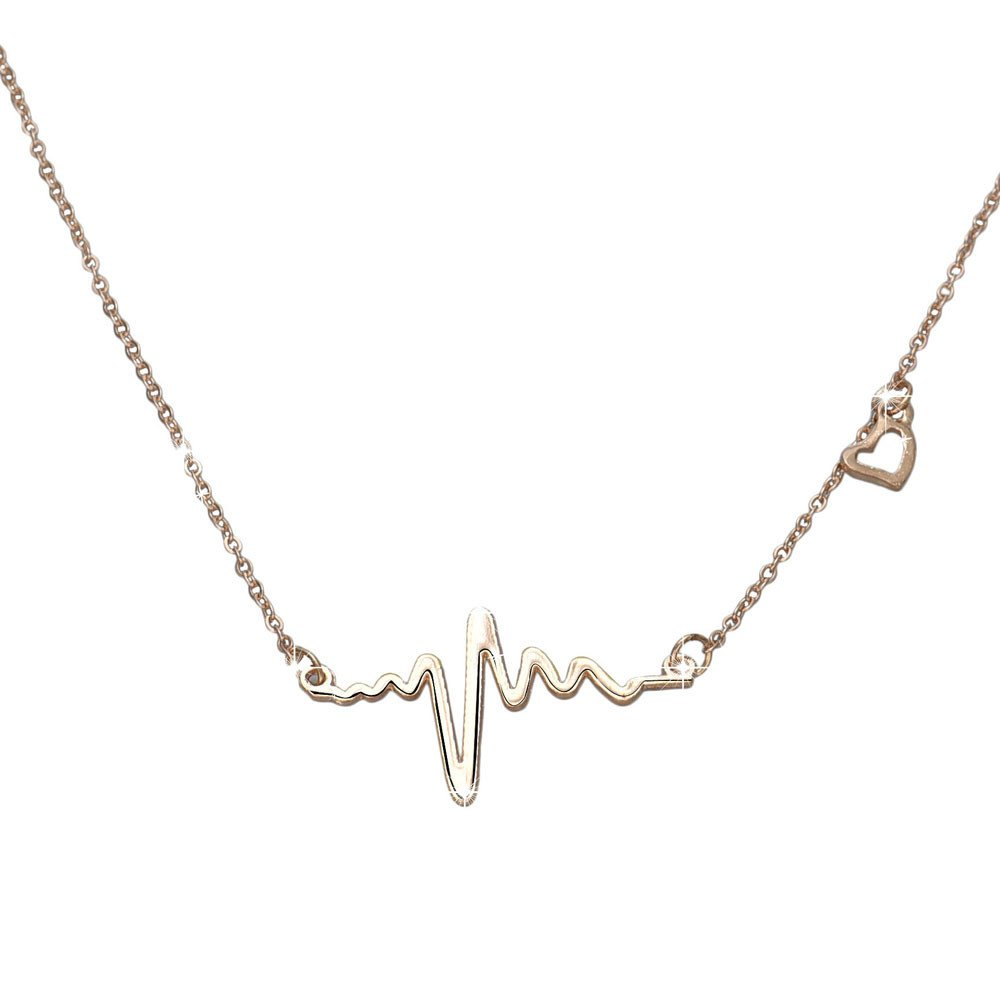 HUAMING Women Gold Heartbeat Pendant Necklace Dainty Necklace ECG Necklace Fashion Fine Jewelry (Gold)