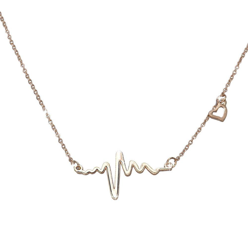 Line Heartbeat Love Necklace Valentine's Day PendantGift for Women Girls Mixpiju (Gold)