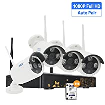 PLV Home Wireless Security System, 1080p HD 2.0 Megapixel Outdoor Indoor IP Surveillance Bullet Camera 4CH NVR 2TB Hard Drive with IR Night Vision, Motion Detection, Remote Access