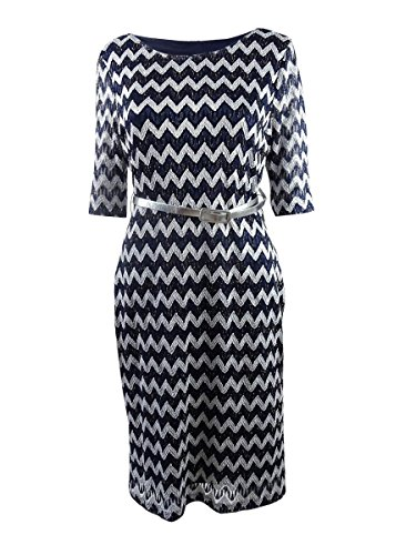 Connected Apparel Women's One Piece Zig Zag Lace with Belt, Navy, - Apparel Connected
