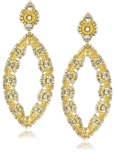 Miguel Ases Pyrite and Swarovski Gold Beaded Cut-Out Marquis Earrings
