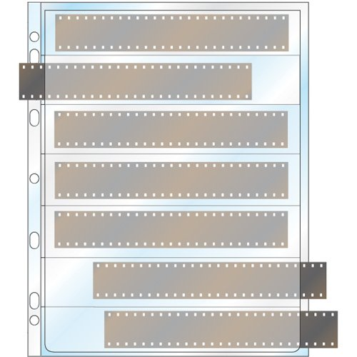 Film Strip 35mm - StoreSMART - Page for 3-Ring Binders - Holds 7 strips of 35mm film - Archival-Safe Clear Plastic - Open on both sides - 25 Pack - VP187-25