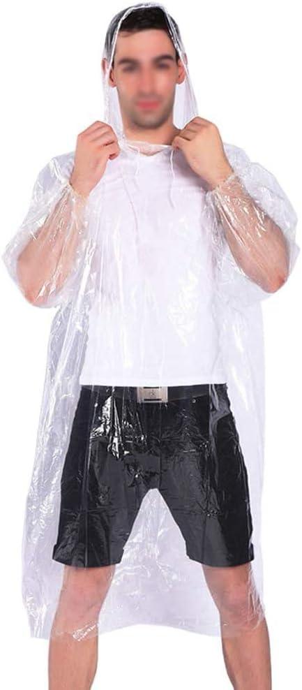 NewSight Disposable Poncho - 10 Pack, PE Plastic, Emergency Raincoat with Drawstring Hood, Elastic Cuff, Portable Lightweight Rainwear for Men & Women, Waterproof Rain Gear, Travel Kit (Clear Design)