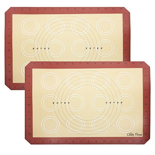 Silicone Baking Mat - Half Sheet Baking Sheet Liner Set Non Stick Cookie Mat(Thick/Large/Non-stick) - Macaron/Cake/Bread Making - Best for Microwave Toaster Oven Tray/pan,2 Pack by Cook - Microwave Baking Mat