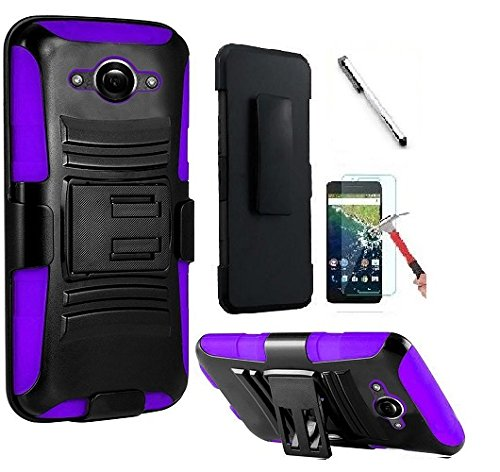 Motorola Droid Turbo XT1254 (Verizon) , Luckiefind Hybrid Armor Stand Case with Holster and