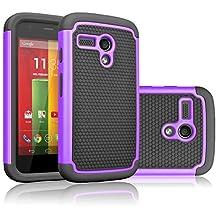 Motorola Moto G Case, Moto G 1st Gen Case, Tekcoo(TM) [Tmajor Series] Shock Absorbing Hybrid Rubber Plastic Impact Defender Rugged Slim Hard Case Cover For Moto G 3G / 4G LTE (Purple / Black)