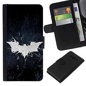 EJOY---La carpeta del tirón la caja de cuero de alta calidad de la PU Caso protector / Samsung Galaxy A3 / --Grunge Bat sesión