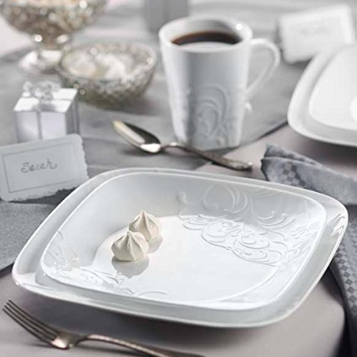 Corelle Geschirr-Set Cherish gepr/ägt aus Vitrelle-Glas f/ür 4 Personen 16-teilig Splitter und bruchfest wei/ß