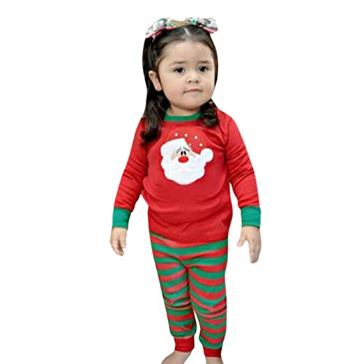Kehen New Year Christmas 2pcs Outfit Baby Girl Boy Santa Pattern Tops + Stripes Pants Pajamas