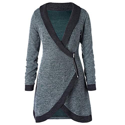 Women Knitted Long Coat Zipper Cardigan Shawl Collar Contrast Trim Side Outwear ()