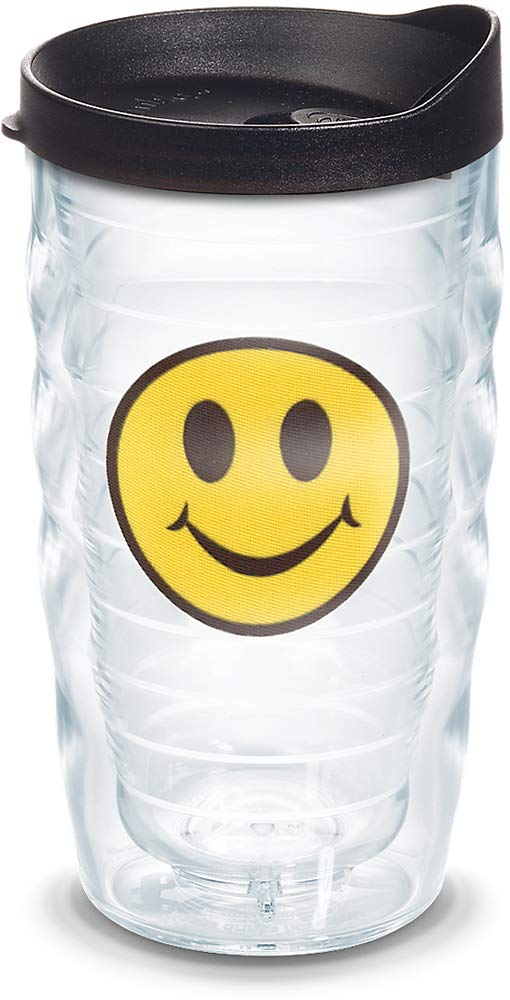 Tervis 1091325 Smiley Face Insulated Tumbler with Emblem and Black Lid 10oz Wavy Clear
